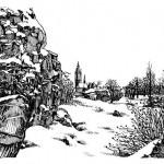 Wolf-Erik Widdel: Blick auf St. Petrie in Wörlitz, Feder