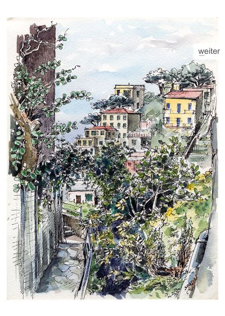 Wolf-Erik Widdel: Levanto Italien, Feder Aquarell