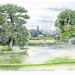 Wolf-Erik Widdel: Roseninsel in Wörlitz, Aquarell