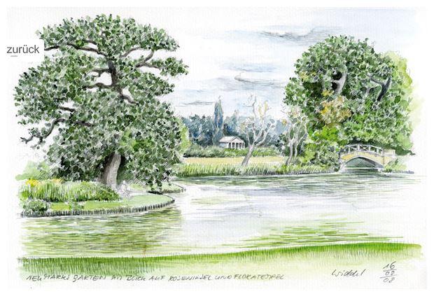 Wolf-Erik Widdel: Roseninsel in Wörlitz, Aquarell