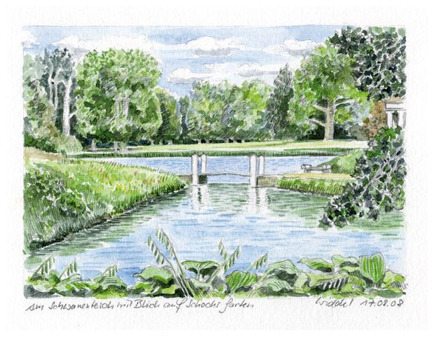 Wörlitzer Park, am Schwanenteich, Schocks Garten, Aquarell